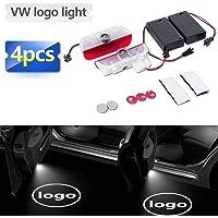 Zobir Confezione da 4 Luci per Proiettore di Benvenuto Wireless Porta per Auto Luce di Benvenuto Porta per Auto LED Luce Logo per Auto Volkswagen