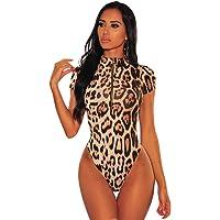 NBBNYJ Body Sexy Donna Leopardo Elegante Scollo a V Profondo Manica Corta Bodysuit Top Coverall Intimo Lingerie