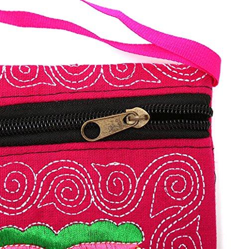 Dairyshop Portafoglio ricamato etnico Boho femminile Boho Portafoglio Handmade retro borsa del telefono (viola) rosa caldo