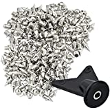 """Wobe 200 Pcs 1/4 '' Stainless Steel Spikes With 1 Pcs Spike Wrench, 0.25"""" Length Track And Cross Country Spikes Shoe Replacement Spikes For Sprint Sports Short Running Shoes Silver Color"""