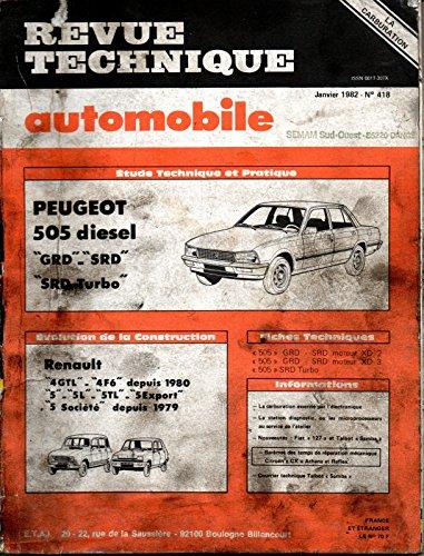 REVUE TECHNIQUE AUTOMOBILE N° 418 PEUGEOT 505 DIESEL GRD / SRD / SRD TURBO par E.T.A.I.
