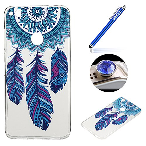 Etsue Custodia Per Huawei P8 Lite 2017,Colorate Dipinto Modello Trasparente Tpu Copertura Case Cover,Super Sottile Morbido Flessible Soft Gel Protettiva Case Bumper,Ultra Slim Sleek Rubber Silicone Go Dreamcatcher