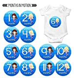 Monthly Baby Stickers by Months In Motion   12 Month Milestone Sticker for Newborn Babies Girl Mermaid (Style 1170)