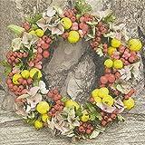 20 Servietten 33 x 33 cm Herbstkranz Herbst Blumen Blätter Hagebutten