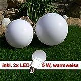 LED Kugelleuchte Gartenleuchte Außenleuchte Kugelleuchte Marlon Set D 40+50cm Kugellampe mit Erdspieß Fassung E27 warmweiß Dekoration, Außenlampe, Gartenleuchte, Gartenlampe