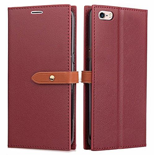 EKINHUI Case Cover Ultra Thin Leight Gewicht PU Ledertasche Business Style Brieftasche Stand Case Retro Folio Tasche mit Gürtelschnalle & Card Slots Für iPhone 6 Plus & 6s Plus ( Color : Black ) Red