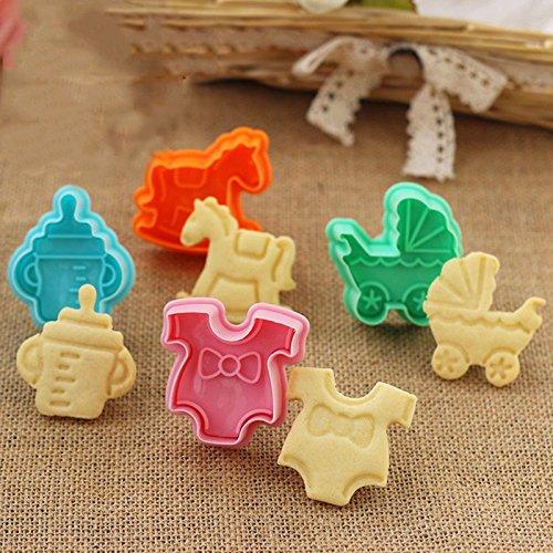 Baby Dusche Cookie Ausstecher Biscuit Form Backen Kuchen Dekoration Topper–Set (Kinderwagen Ausstecher 4)