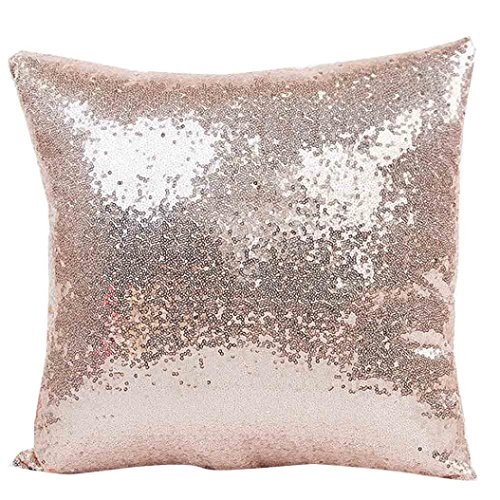Indexp Glitter Sequins Solid Color Pillowcase Home Decor Sofa Cushion Cover (Khaki)