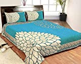 #3: Kritarth Handicrafts Sky Blue Color Corner Design Queen Size Double Bedsheet with Two Pillow Covers (Size- 90X100 inch)
