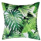 JWH Banana Leaves Printed Samt Kissenbezug Tropical Jungle Kissenbezug Grün Pflanzen Für Sofa Bett Auto Stuhl 43x43 cm