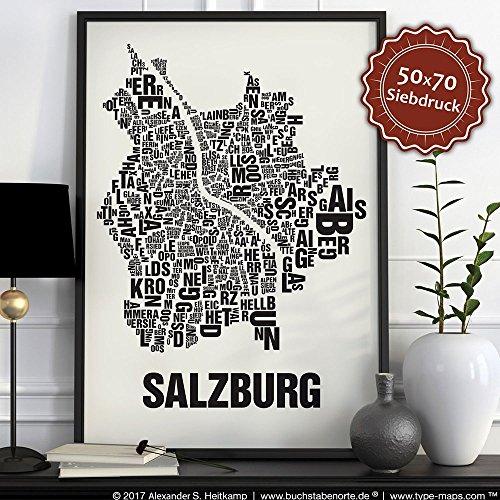 Salzburg Buchstabenort Schwarz auf Naturweiß