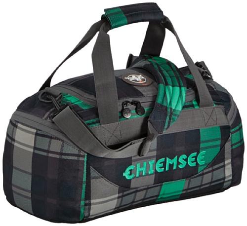Chiemsee 5040009 Sporttasche Matchbag, sehr schöne leichte trendige Reisetasche coole Freizeittasche/Fitnesstasche unisex, Tasche in Check 3 Mint/grün-schwarz, modernes Bag small 44 x 22 x 21 cm