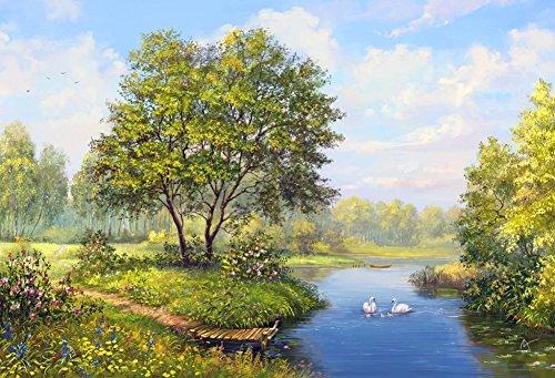 Wowdecor DIY Malen nach Zahlen Kits Geschenk für Erwachsene Kinder, Malen nach Zahlen Home Haus Dekor - Wald Fluss Schwan Grün Bäume Landschaft 40 x 50 cm Rahmen