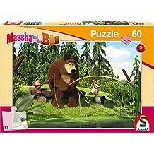 Schmidt Puzzle 56140 - Masha y el Oso, Cuando la pesca, 60 partes