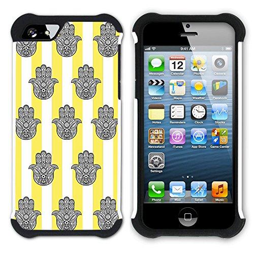 Graphic4You Monogramm Hamsa Hand der Fatima Streifenmuster (Gelb) Hart + Weiche Kratzfeste Hülle Case Schale Tasche Schutzhülle für Apple iPhone SE / 5 / 5S Gelb