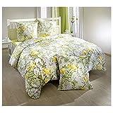 Bettwäsche Bettgarnitur 200 x 200cm mit 2 Kopfkissen 65 x 65cm 100% Baumwolle Französisches Bett (Blüten gelb)