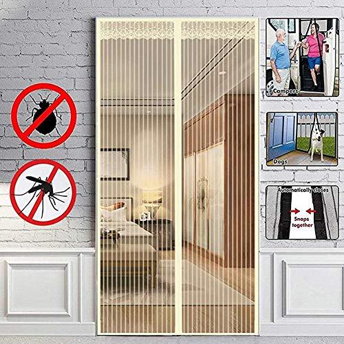 Jimgd zanzariera magnetica per balcone 80 * 200cm~ 130 * 220cm tenda zanzariera per porte d'ingresso,totalmente magnetica tenda zanzariere per finestre cortili,beige,100x210cm(39x83inch)