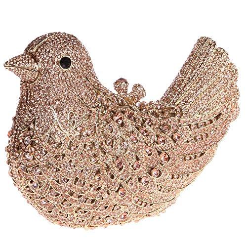 Santimon Donna Pochette Borsa Uccello Custodia Rigida Lusso Borsellini Diamante Cristallo Borse Da Seta Con Tracolla Amovibile e Pacco Regalo 15 Colori rosa oro