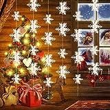 Konsait Papier 3D Hängende Schneeflocken Garland String Ornaments für weihnachtsbaum, Silvester Party, Weihnachten Hängedekoration Fensterdeko 18 Füße (Packung von 2)