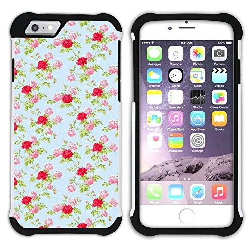 Graphic4You Blume Blumen- Muster (Schwarz) Hart + Weiche Kratzfeste Hülle Case Schale Tasche Schutzhülle für Apple iPhone 6 Plus / 6S Plus Design #8