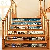 Home Arts 6 Teile/Satz 3D Selbstklebende London Iron Bridge Treppenwandaufkleber Kreative Dekorative Abziehbilder DIY Kunstwand Removable Treppen PVC Wasserdichte Tapete Für Wohnzimmer Dekoration