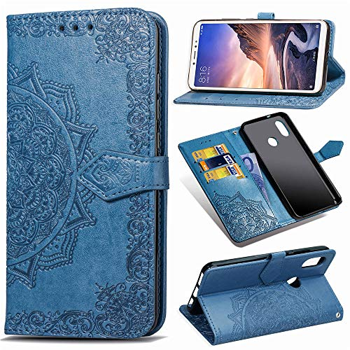 Funda para Xiaomi Mi MAX 3, Carcasa Libro con Tapa Flip Case Antigolpes Golpes Cartera PU Cuero Suave Soporte con Correa Cordel - Mandala Azul