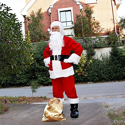 SPFAZJ Santa Anzug Kostüm Santa Kostüm hochwertige Beflockung Santa Kostüm Set Halloween Kostüm Erwachsene weihnachtskostüm