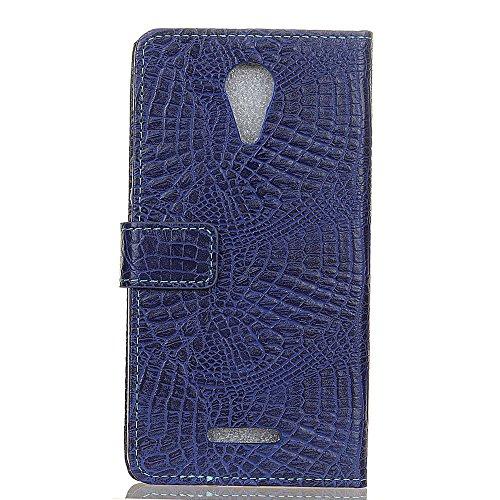 Krokodil Haut Textur Muster Kunstleder Folio Stand Case Soft Silikon Abdeckung mit Kartensteckplätzen für WIKO Tommy 2 ( Color : Blue ) Blue