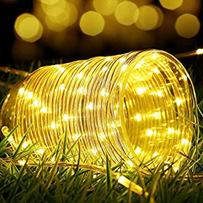 Lamker Led Solar Rope Lights Waterproof Indoor Outdoor Tube String Light Copper Wire 41ft 100 Leds Decorative Lighting for Tree Garden Yard Fence Patio Decking Christmas