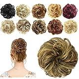 Feshfen Haargummi-Haarteil, für Haarknoten/ Pferdeschwanz, Haarverlängerung, gewellt, unordentlicher Haarknoten, Dutt, Hochfrisur, Haarteil, tiefschwarz