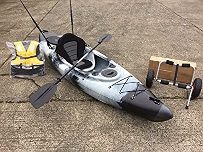 Cambridge Kayaks Kayaks Single Sit On Top Fishing Kayak With Trolley - black and white, Single from Cambridge Kayaks