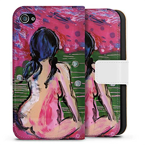 Apple iPhone X Silikon Hülle Case Schutzhülle Frauen Kunst Frau Sideflip Tasche weiß
