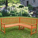 Melko® Eckbank Gartenbank Sitzbank, aus Holz, 149 x 149 x 89 cm, braun, Parkbank Sitzgarnitur