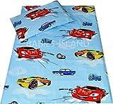 babies-island Kinder set- Bettwäsche Auto Jungen Bettbezug und Kissenbezüge Kinderbett Bett Kinderbett/Kleinkind mit Zickzack, baumwolle, blau, 90x120 cm