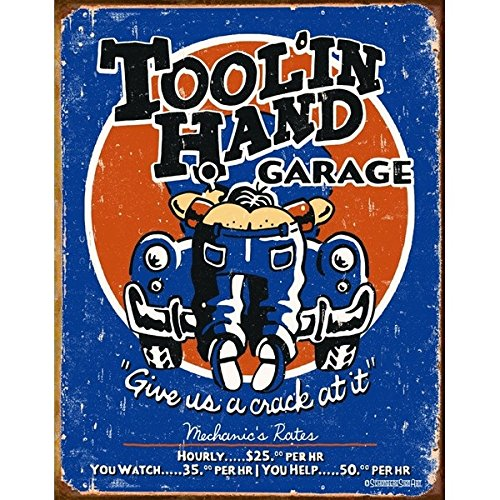 Humorous Tool'In Hand Garage Give Us A Crack At It Metal Tin Sign 30x40cm by Decoworld