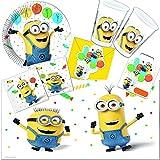 101-teiliges * Minions Despicable Me * PARTY SET für Kindergeburtstag // mit Teller + Becher + Servietten + Einladungen + Partytüten + Tischdecke + Luftschlangen + Luftballons, u.v.m. // Jungen Motto