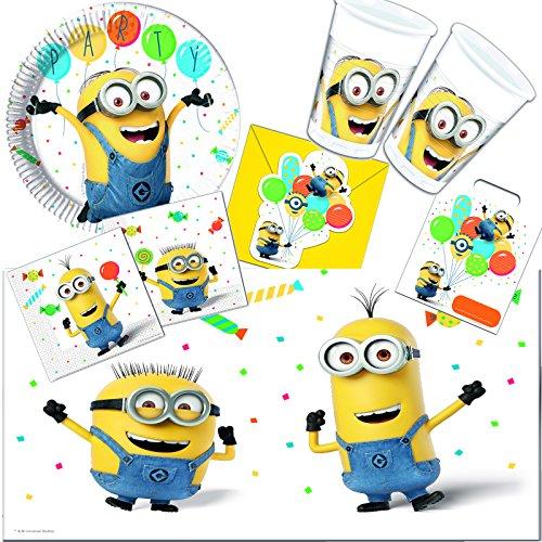 101-teiliges * Minions Despicable Me * PARTY SET für Kindergeburtstag // mit Teller + Becher + Servietten + Einladungen + Partytüten + Tischdecke + Luftschlangen + Luftballons, u.v.m. // Jungen Motto (Geburtstag Party-einladungen Minion)
