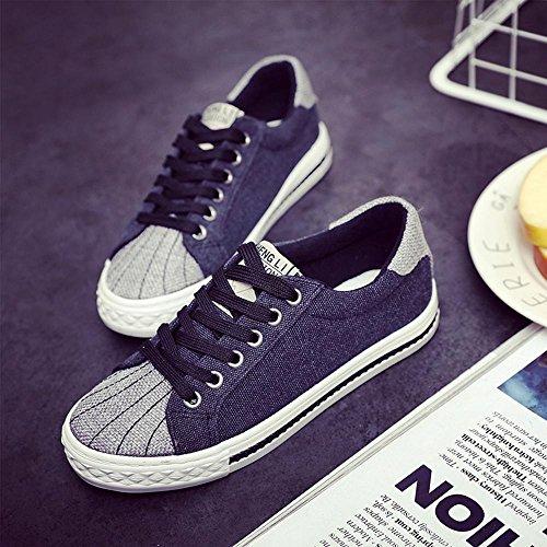 NSX delle donne cima piatta inferiore bassa casuale lace-up delle scarpe di tela skate Sneakers Flats , 35 , black BLACK-35