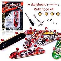 Monopatines de Dedos, Mini diapasón Profesional Skatepark Toy Games Regalo de Navidad para niños (Color y Patern Aleatorio)