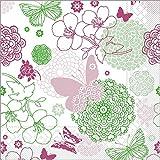 Sovie HORECA Serviette Luisa / Tissue-Servietten 40x40 cm / saugstarke und hochwertige Einweg-Servietten / ideal für Hochzeit & Feiern im Frühling & Sommer / 100 Stück / Pink-Grün