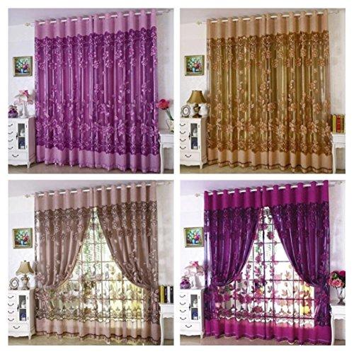 Türkei 1Peony, mit Vorhang Tüll Voile Tür Fenster Vorhänge mit Trennwand Schal mit 98,4cm zum Aufhängen mit 39,4cm grau