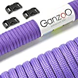 Ganzoo Paracord 550Rope Starter Kit with 3Click Fasteners for Bracelet, Tying Dog Leads or Dog Collars / Rope 4mm Thickness / Multipurpose Rope / Survival Rope / 7Core Strands / Parachute Cord Maximum Weight Supported 250kg / Tear-Resistant Core Rope / Includes 3Click Fasteners Made of Plastic (3/8 Inch–10mm) / Available in Multiple Colors, lilac, 30 metres