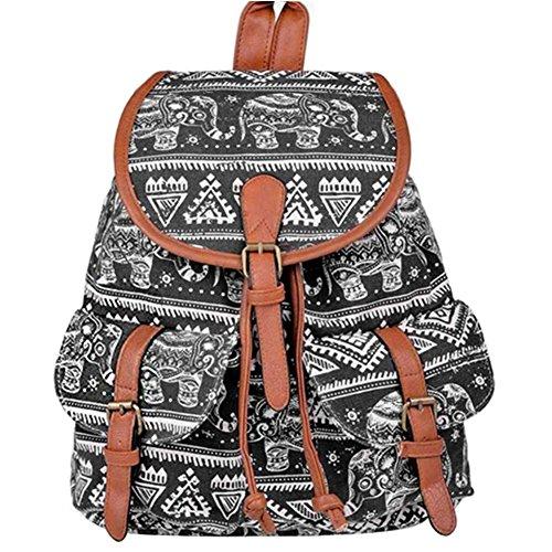 SANNU Canvas Rucksack Damen Mädchen Freizeitrucksack Schulrucksack Schultasche Reisetasche/ Kinder Rucksäcke Schwarz