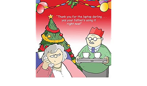 Twizler Merry Christmas card con nonni e portatile Happy
