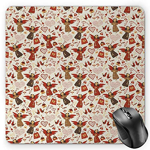 HYYCLS Angel Mauspads, Medieval Marry Love Angel Playing Music Valentine Cupid Date Dove Marriage, Standard Size Rectangle Non-Slip Rubber Mousepad, Eggshell Ruby Caramel