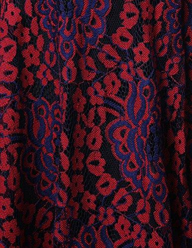 Modetrend Élégant Femmes Robe de Dentelle Cocktail Soirée 3/4 Manche Rétro Années 50s Vintage Swing Rockabilly Robe de Bal Rouge