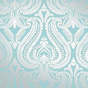 I Love Wallpaper Papier peint métallisé irisé Bleu sarcelle/argenté Motif damassé