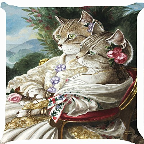 Cushion cover throw pillow case/Kissenbezüge 18 inch retro vintage Victorian cat girls lace flower dress garden cute kitty pair both sides image zipper (Vintage Flower Girl Dresses Lace)