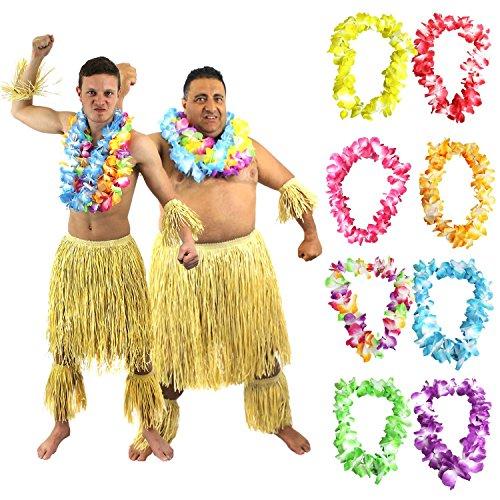 ILOVEFANCYDRESS Hawaii SÜDSEE Zulu Set KOSTÜM VERKLEIDUNG=Bein+ARM Stulpen+ LEI (IHRER Wahl)+ BASTROCK=Sommer Party Fasching Karneval=Plus Size + MEHRFARBIGE LEI