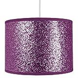 Paralume per Lampadario/Lampada Moderno e di Design in Tessuto Viola Brillante e con Glitter Larghezza 25 cm da Happy Homewares